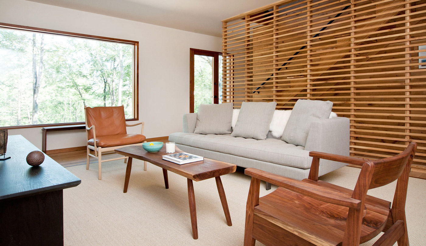 Sofa, Wooden Coffee Table, Living Room, Wood and Glass House in Kerhonkson