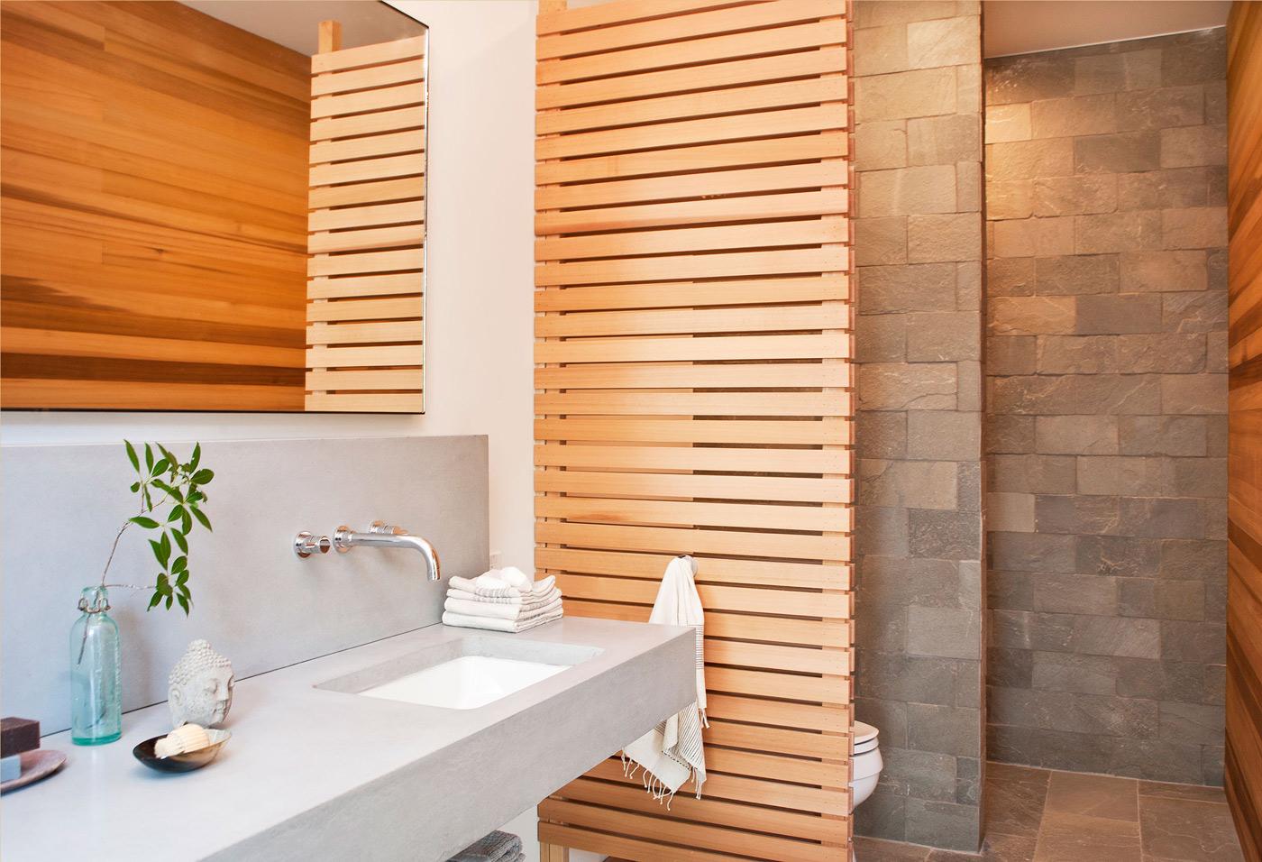 Stone & Wood Bathroom, Wood and Glass House in Kerhonkson