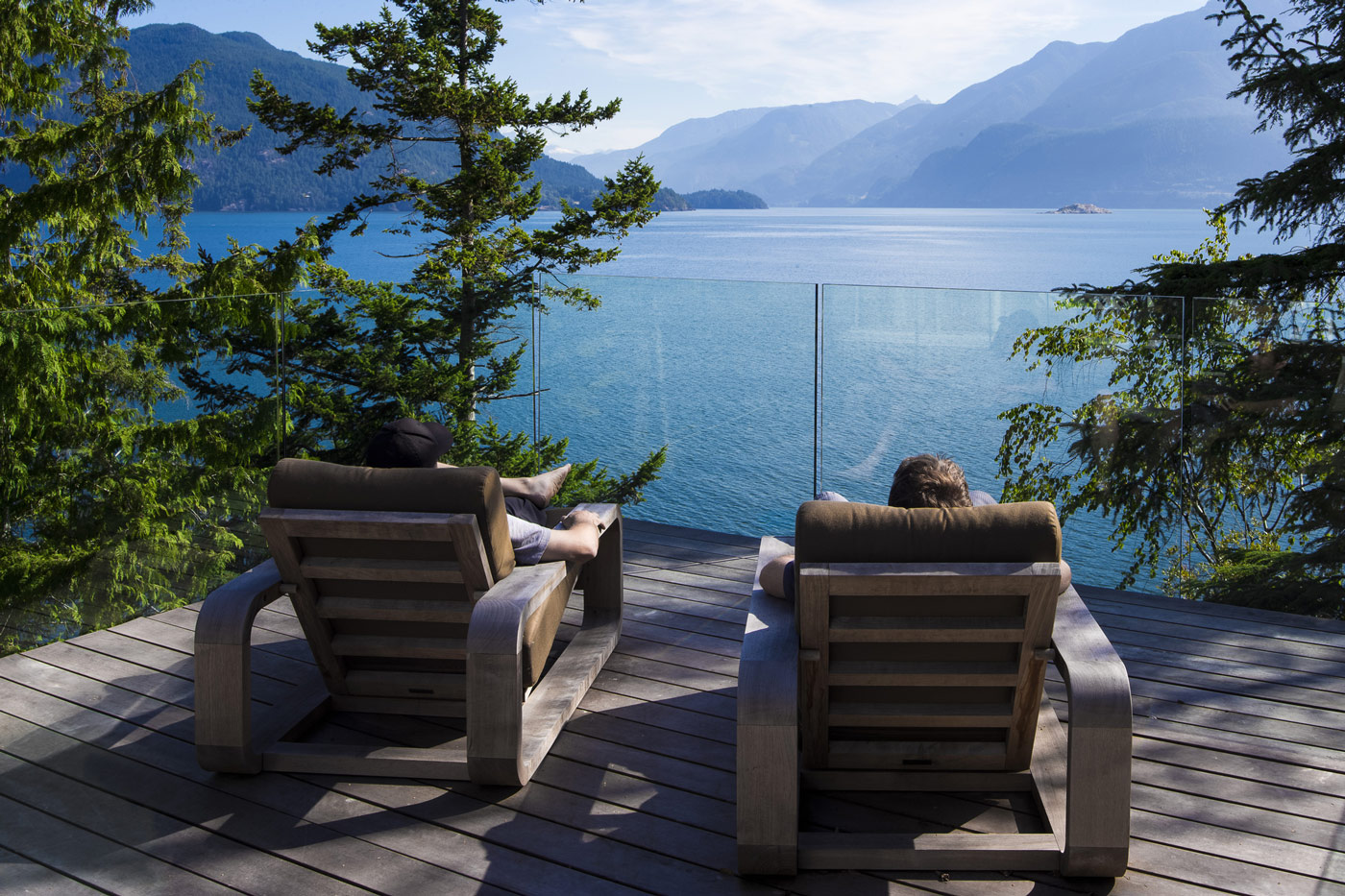 Water & Mountain Views, Balcony, Glass Balustrading, House on Gambier Island, British Columbia
