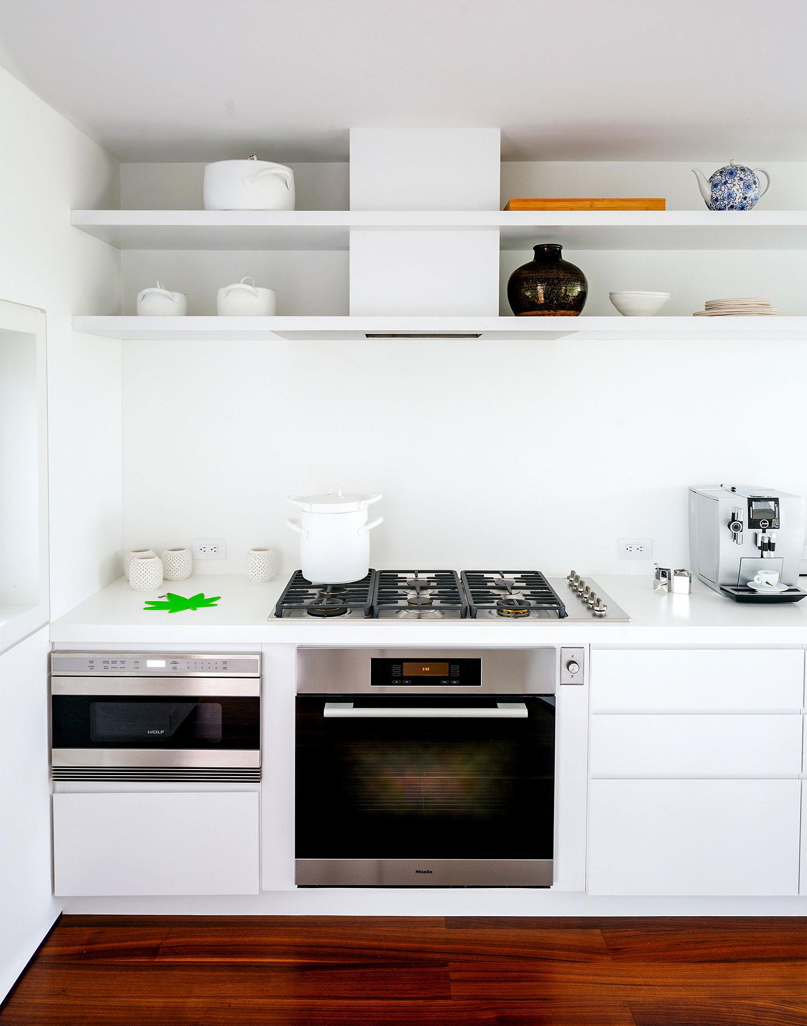 White Kitchen, Dark Wood Floor, Richard Meier's Fire Island House