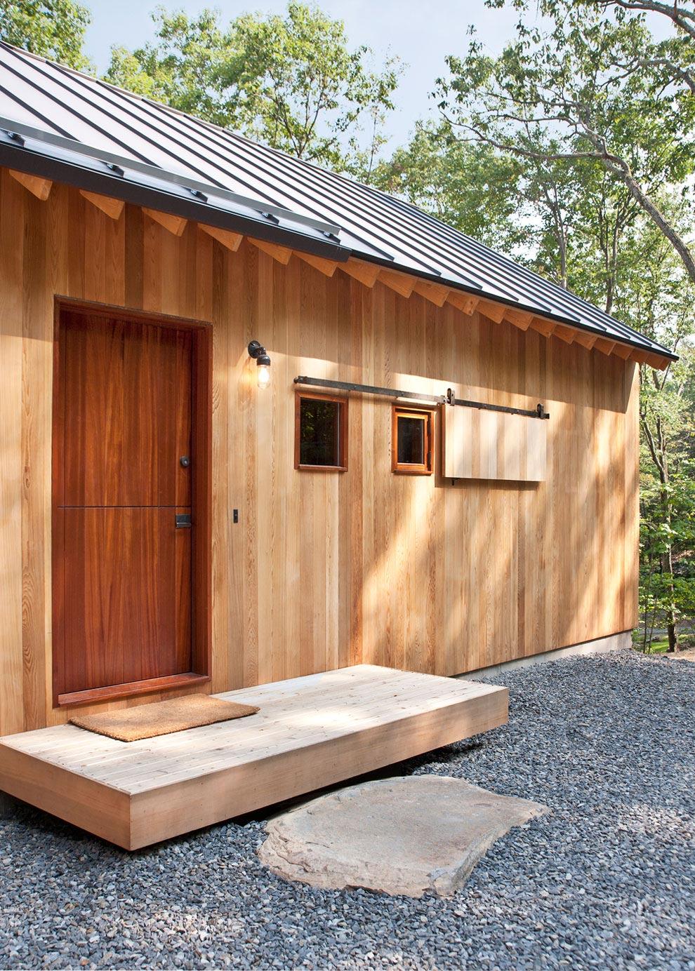 Front Door, Wood Sliding Shutter, Wood and Glass House in Kerhonkson