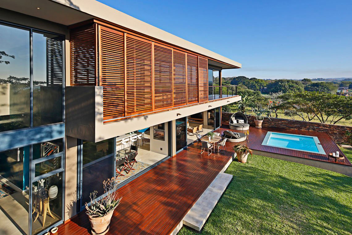 Wood Decking, Pool, Contemporary Residence in Kwa Zulu Natal