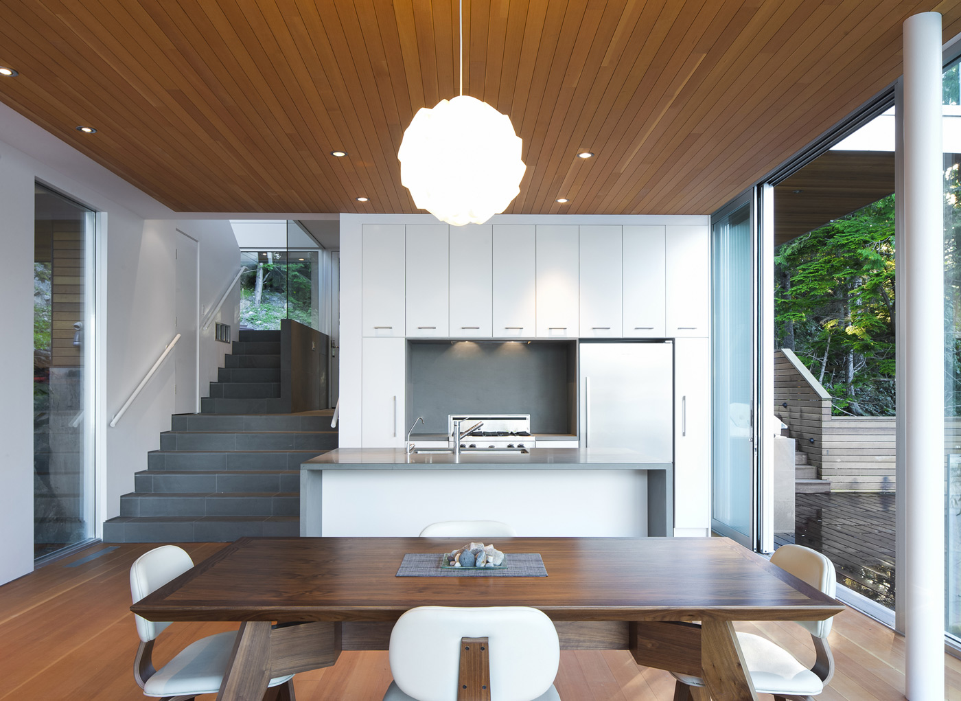 Wooden Dining Table, Kitchen, Lighting, House on Gambier Island, British Columbia