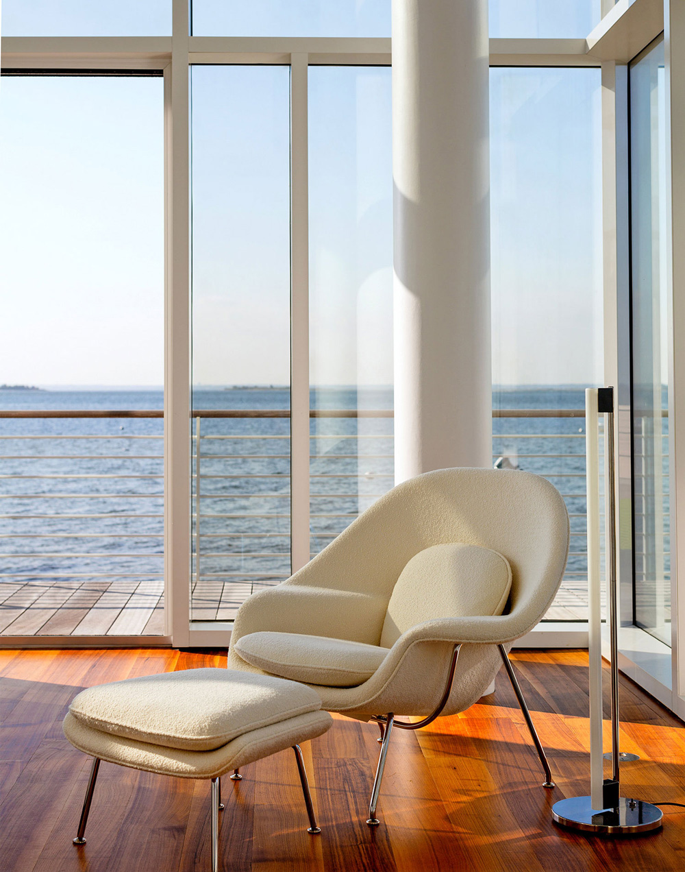 Wood Floors, Ocean Views, Lighting, Seating, Richard Meier's Fire Island House