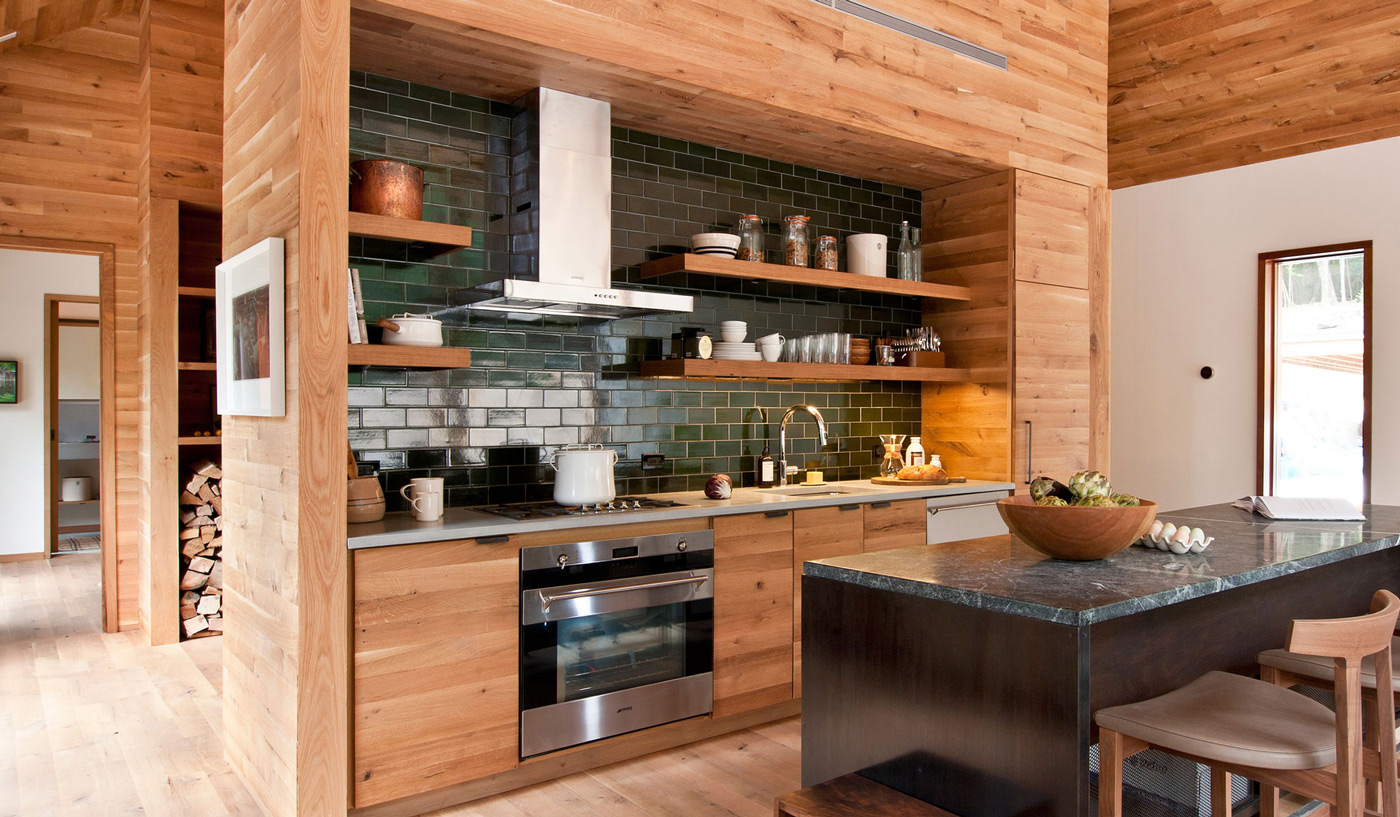 Wood Kitchen, Island, Breakfast Bar, Wood and Glass House in Kerhonkson
