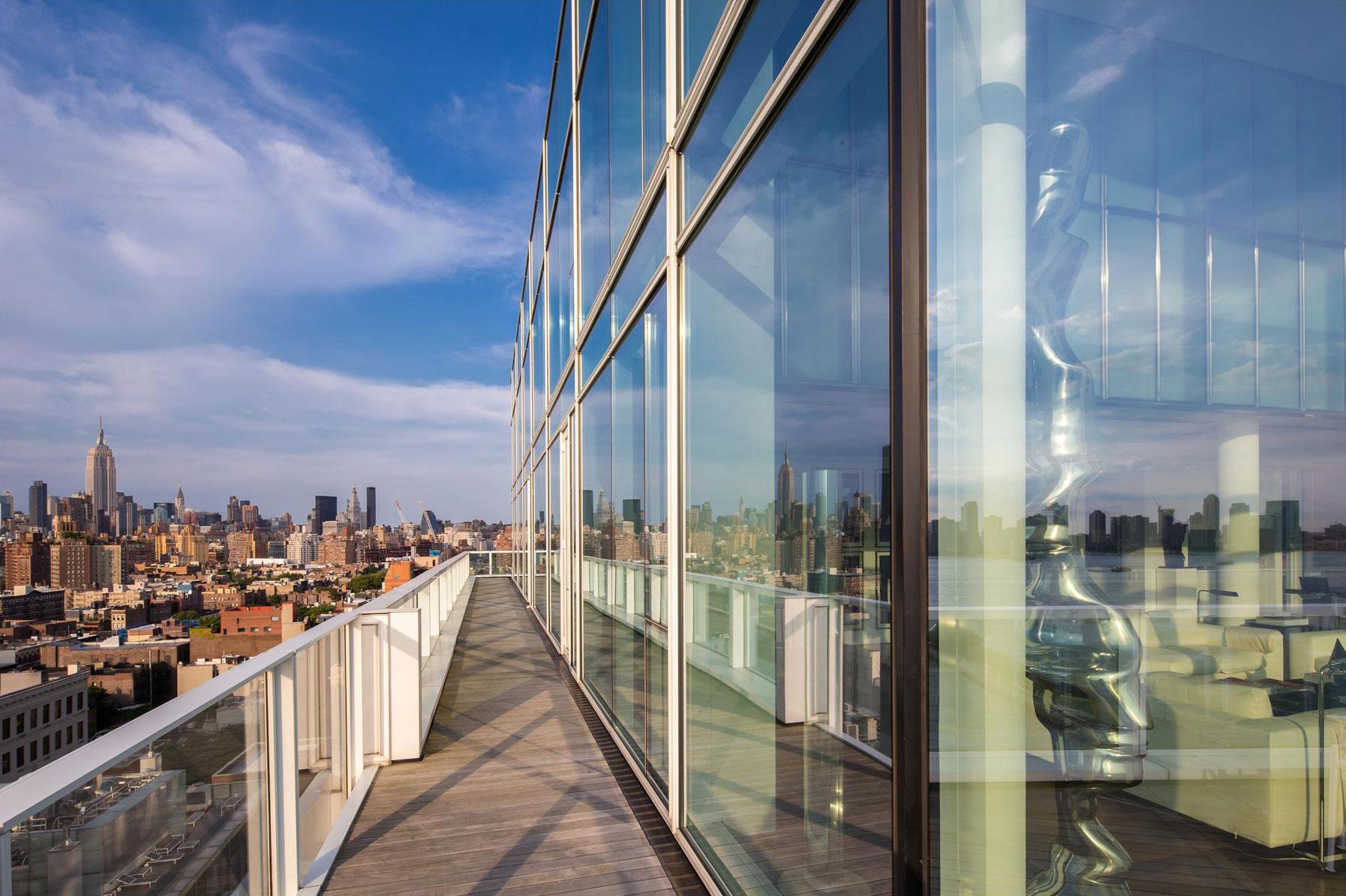 Wood, Metal & Glass Balcony, City Views, Apartment in Manhattan
