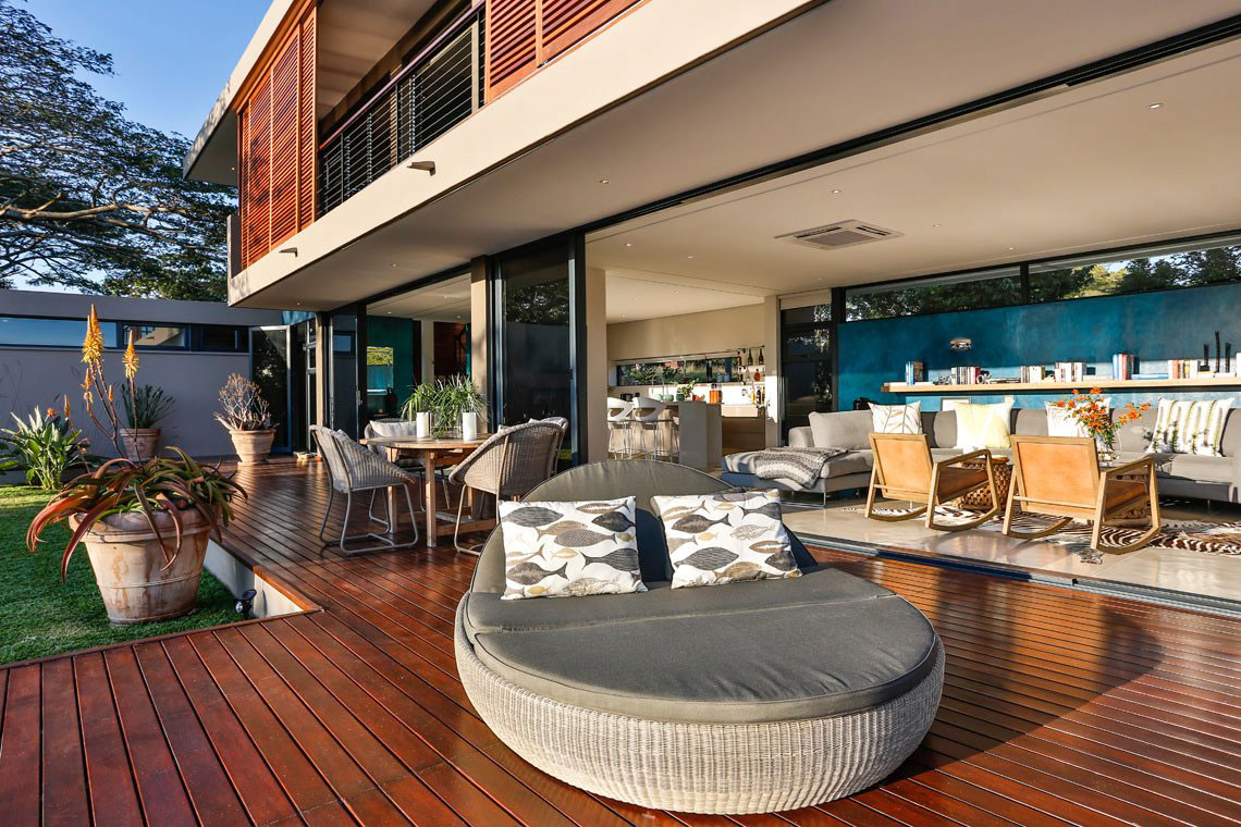 Wood Terrace, Outdoor Furniture, Contemporary Residence in Kwa Zulu Natal