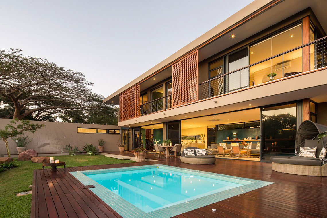 Wood Terrace, Pool, Contemporary Residence in Kwa Zulu Natal