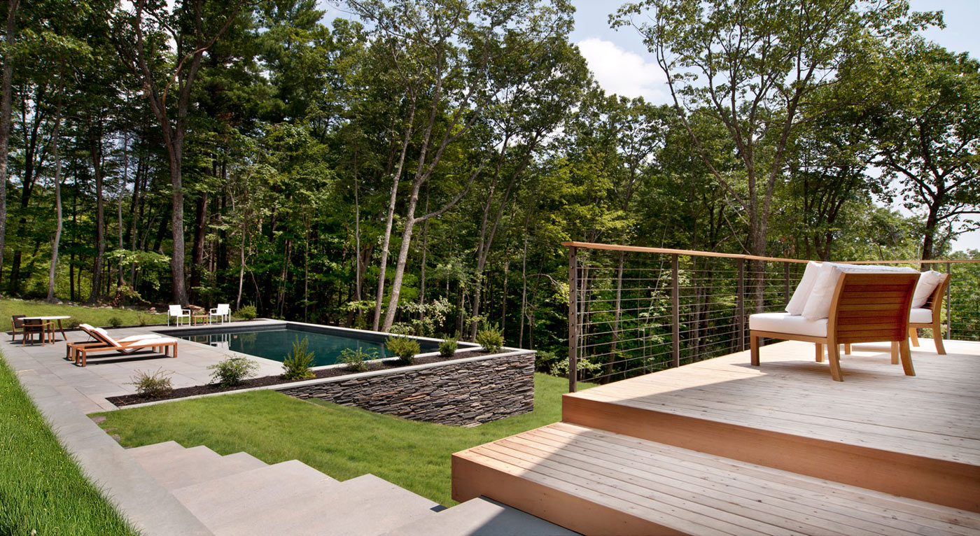 Wooden deck balcony steps pool terrace wood and glass for Terrace nature