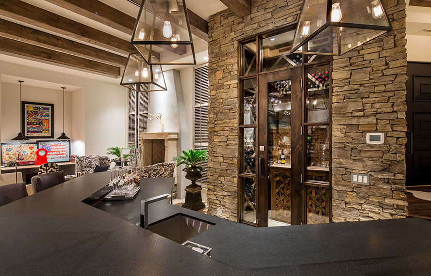 Bar Stools, Sink, Stone Walls