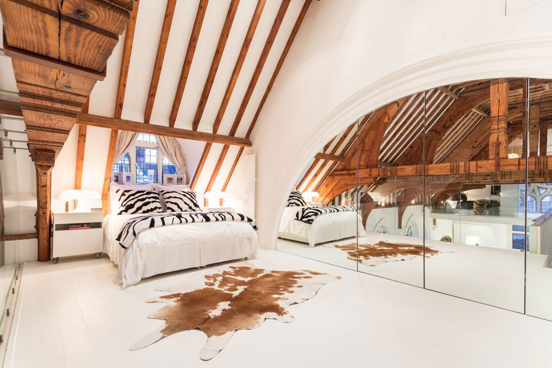 Bedroom, Ceiling Beams, Large Mirror, Church Conversion in London, England