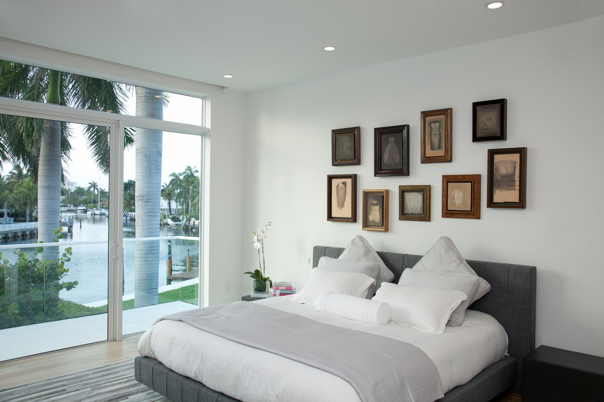 Bedroom, Patio Doors, Balcony, House in Golden Beach, Florida