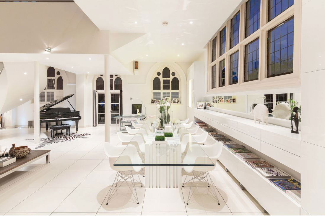 Glass Dining Table, Bright White Interior, Church Conversion in London, England