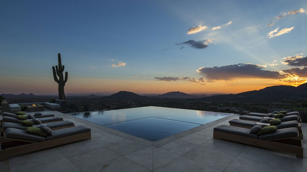 Infinity Pool, Mountain Views, Evening