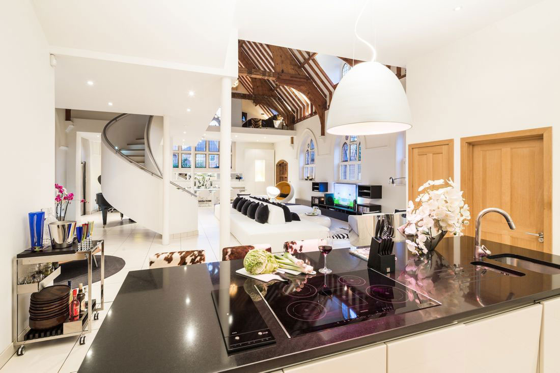 Kitchen Island, Lighting, Open Plan, Church Conversion in London, England