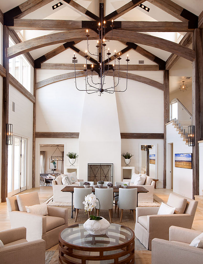 Large Beams, Chandelier, Living Room