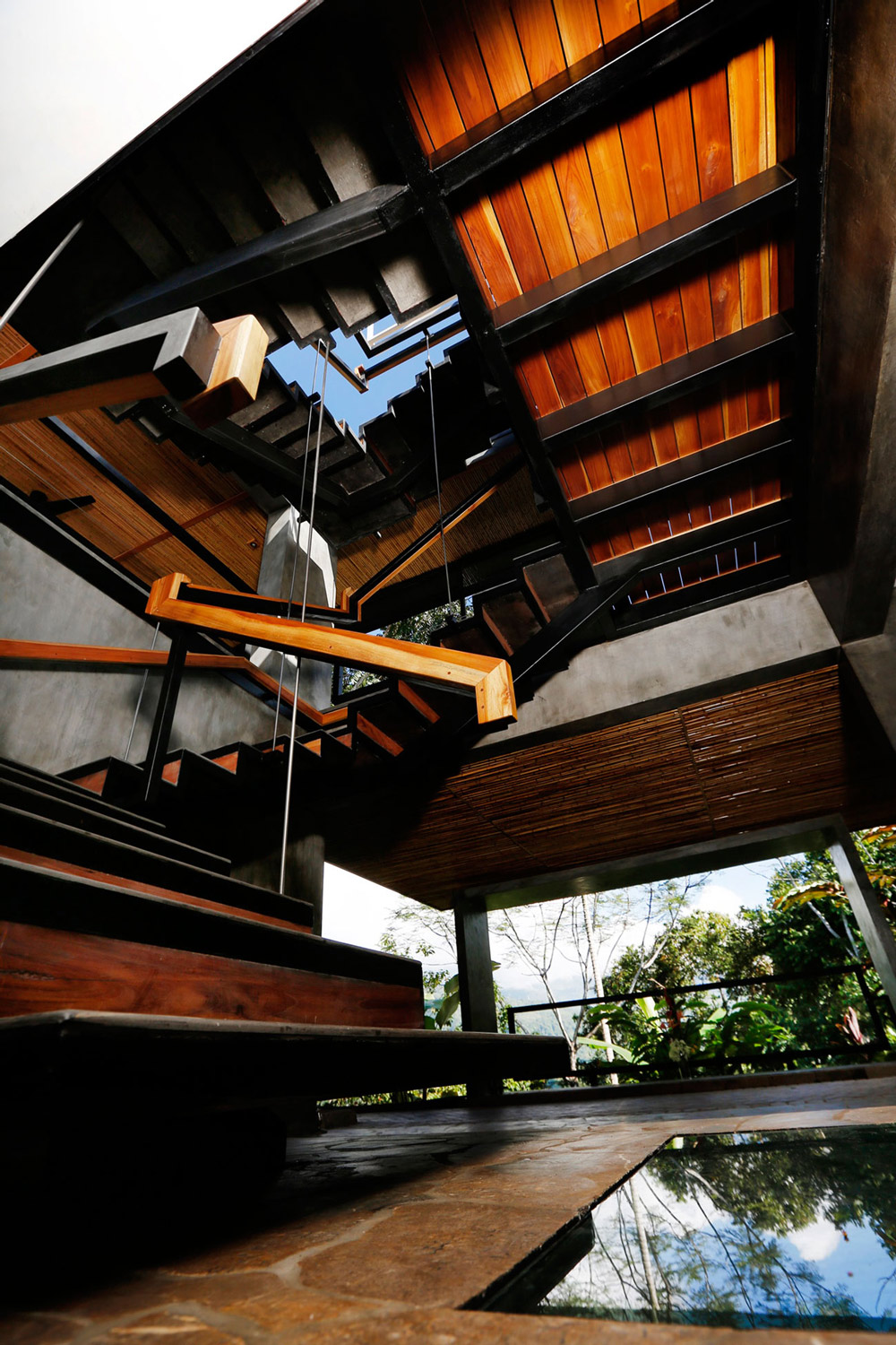 Modern Wood Stairs, Holiday Villas in Costa Rica