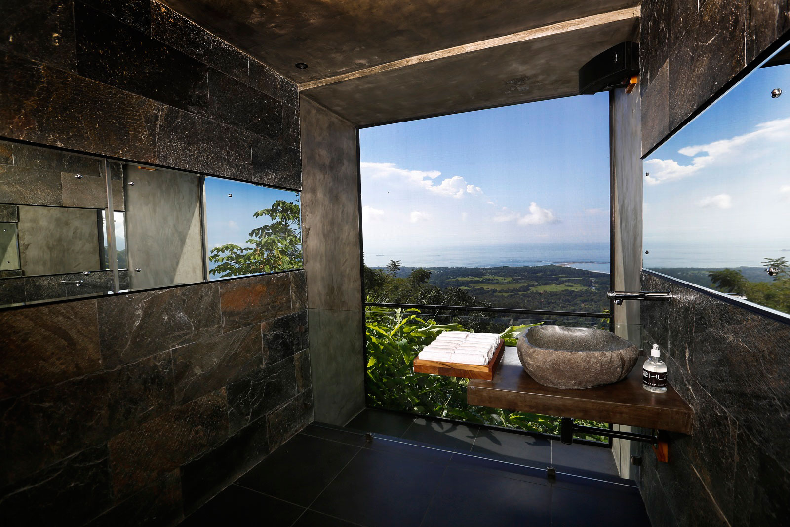 Natural Stone Sink, Bathroom, Sea Views, Holiday Villas in Costa Rica