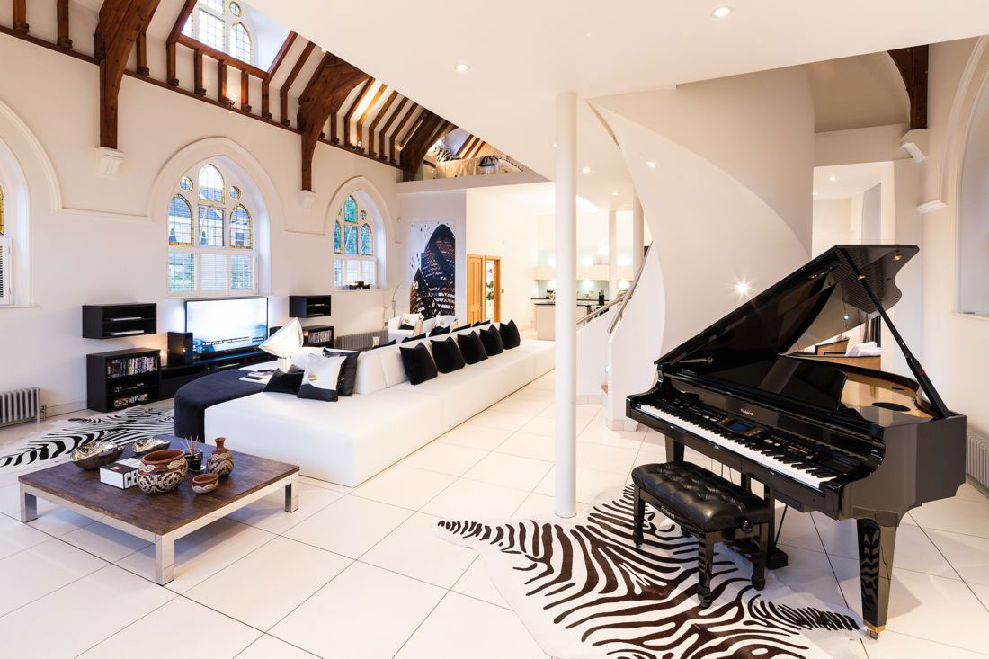 Piano, Sofa, Table, White Tiles, Church Conversion in London, England