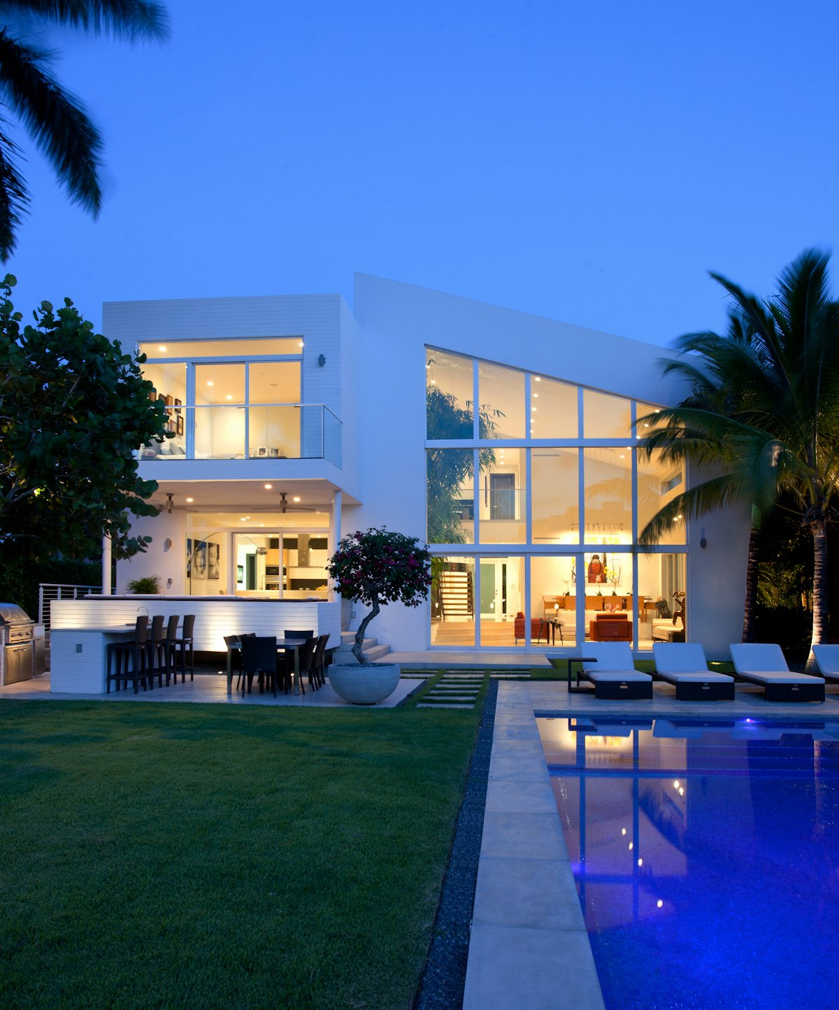 Evening, Pool, Terrace, House in Golden Beach, Florida
