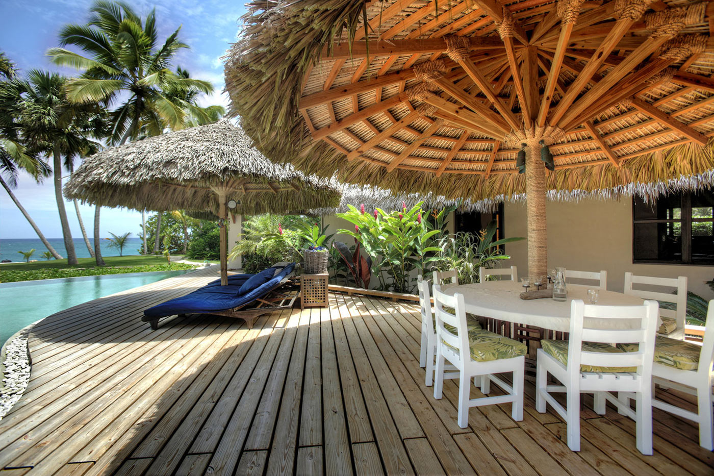 Wooden Terrace, Pool, Tiki Parasols