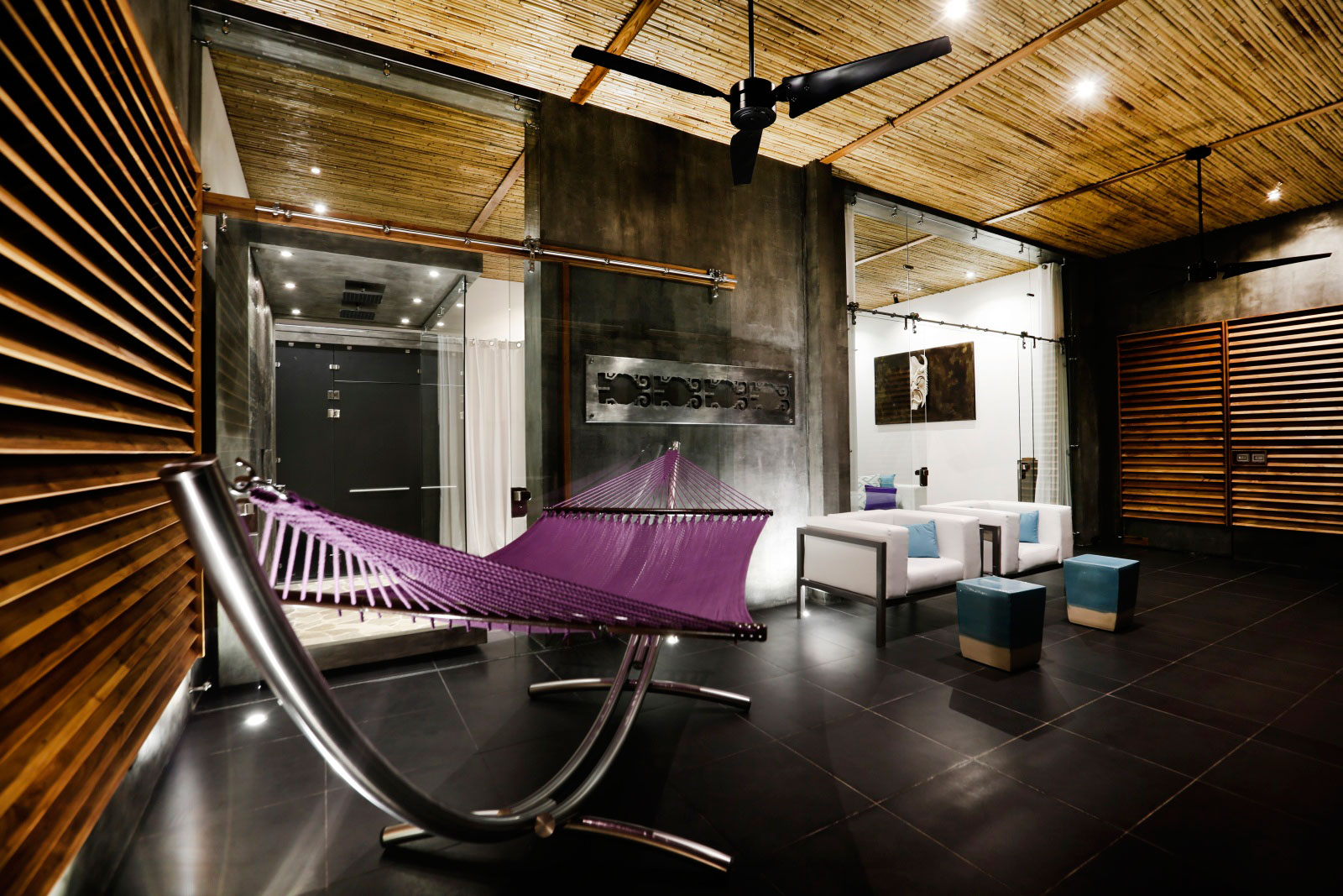 Living Space, Wooden Walls & Ceiling, Dark Floor Tiles, Living Space, Holiday Villas in Costa Rica