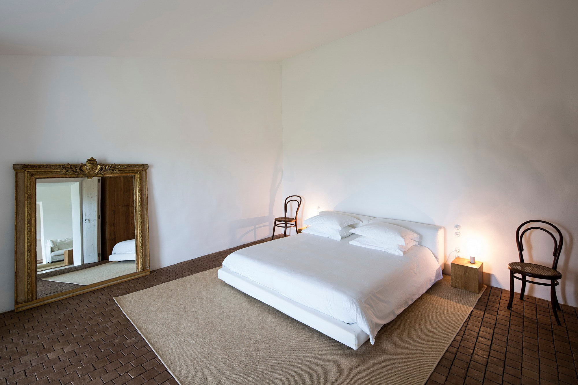 Gold Mirror, Rug, Bedroom