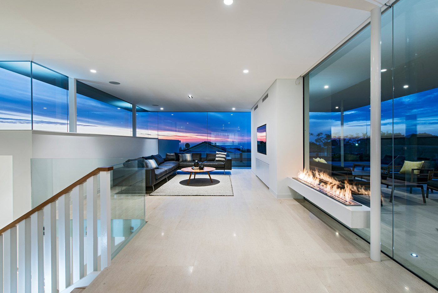Contemporary Fireplace, Glass Walls