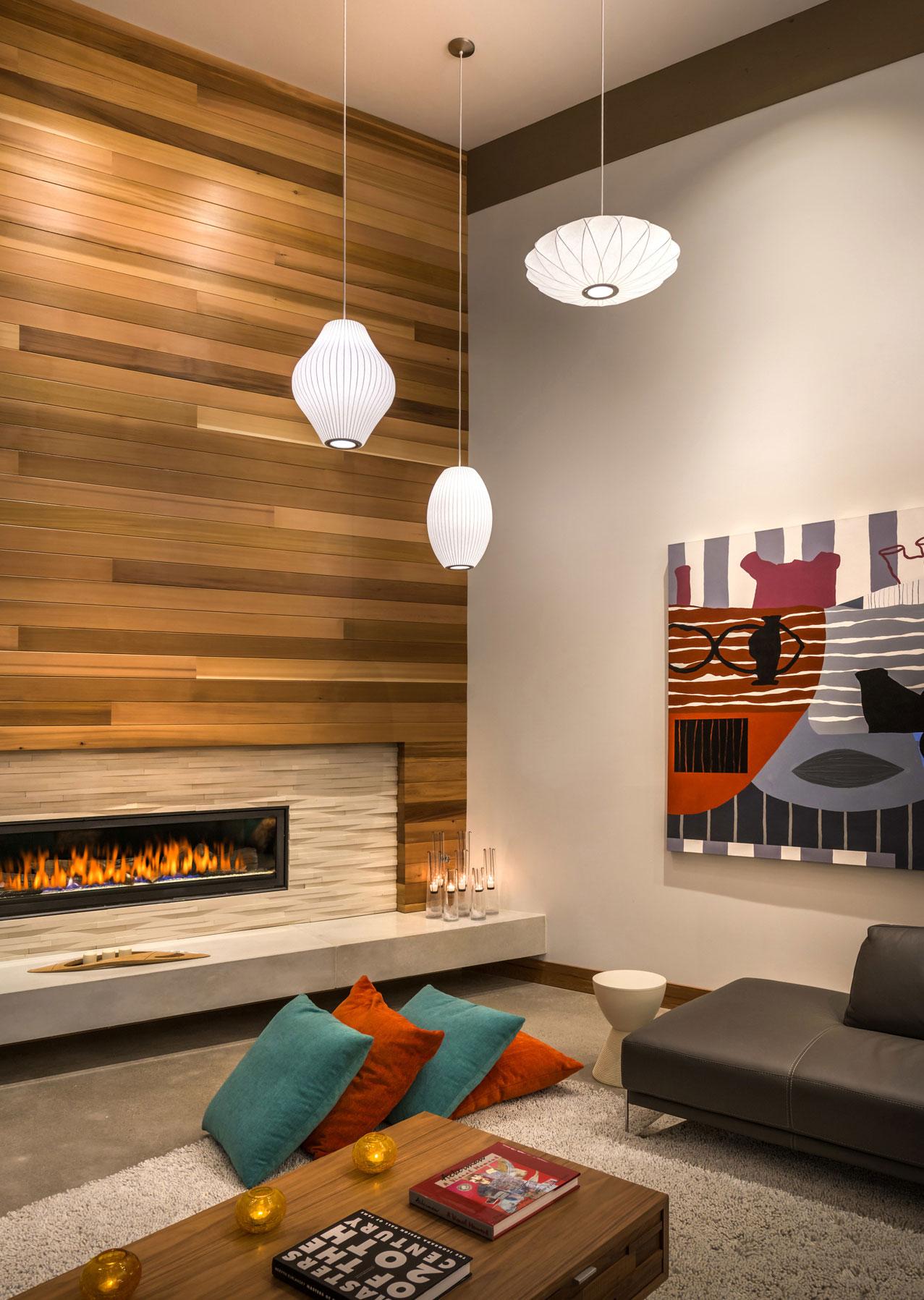 Fireplace, Lighting, Coffee Table