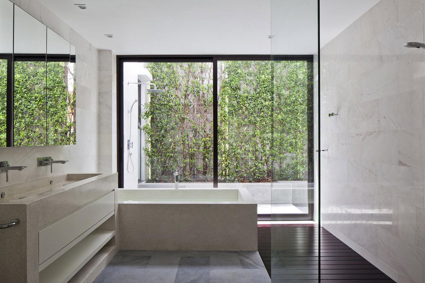 Glass Screen, Shower, Bath, Sinks, Marble Tiles