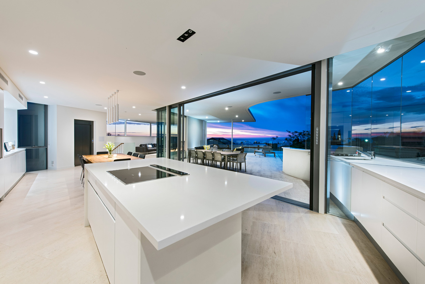 Kitchen Island, Glass Sliding Doors
