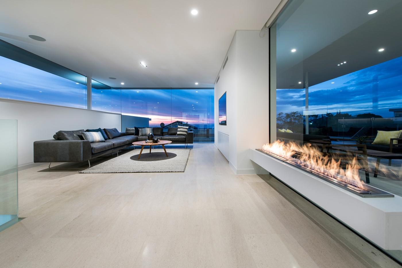 Living Room, Modern Fireplace