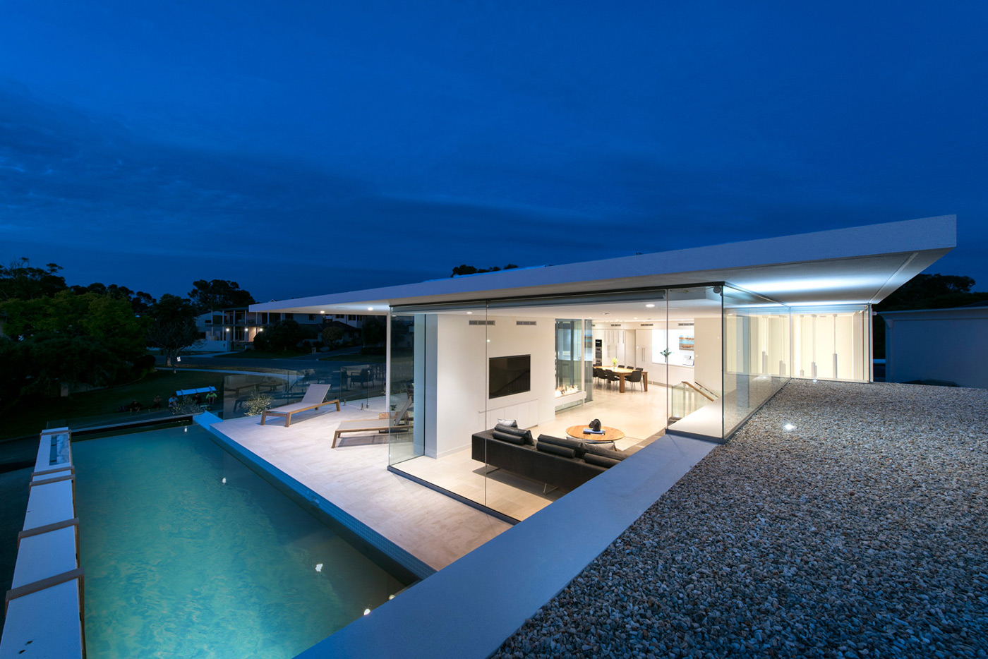 Pool Lighting, Glass Walls