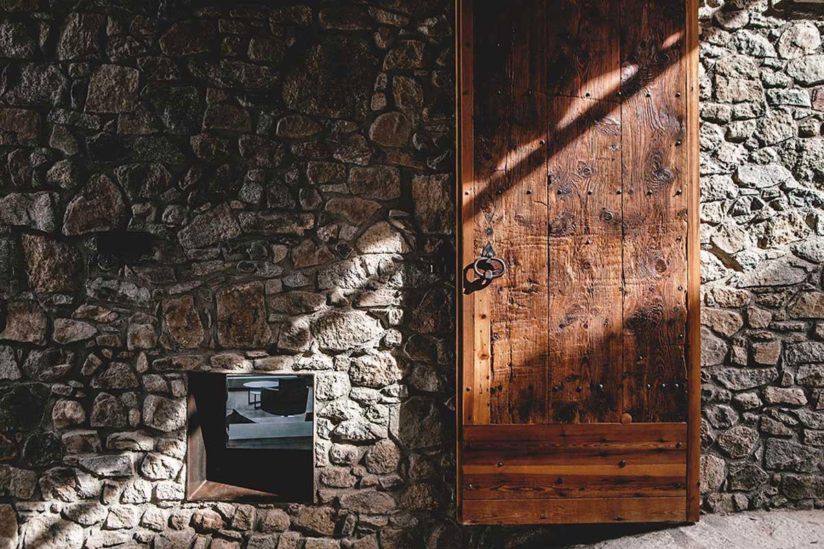 Rustic Wood Door, Stone Wall