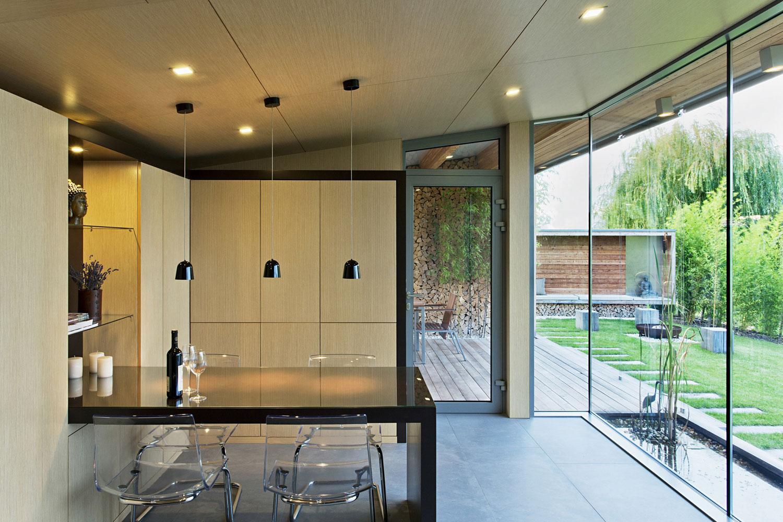 Dining Table, Lighting, Glass Wall