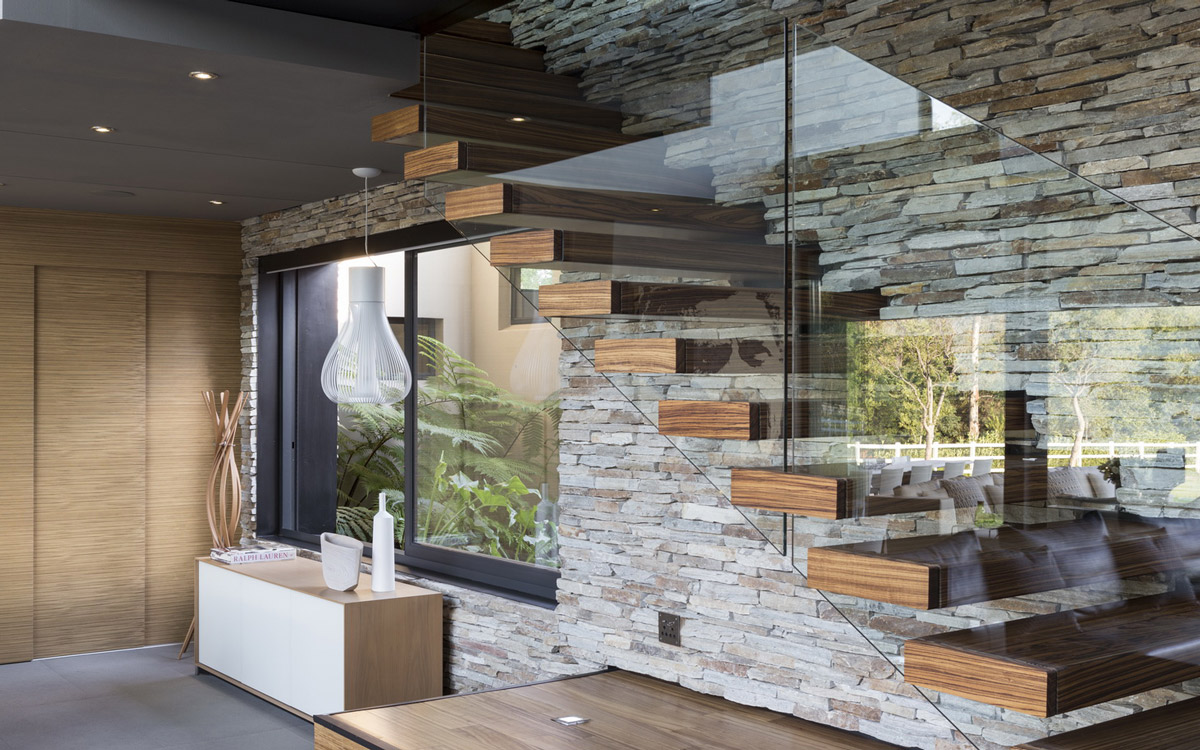 Glass & Wood Stairs, Natural Stone Wall