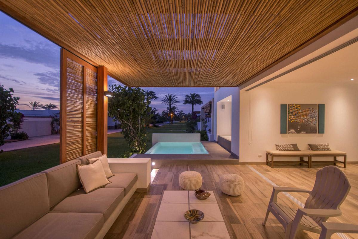 Pool lighting, sofa, living space