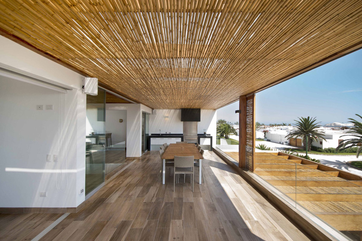 Solid wood flooring, bamboo pergola