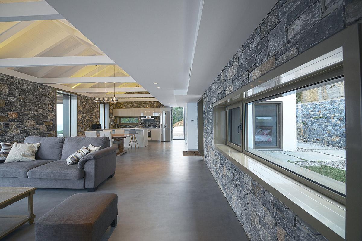 Long window,  natural stone walls