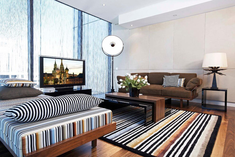 Bright rug, bedroom sofa