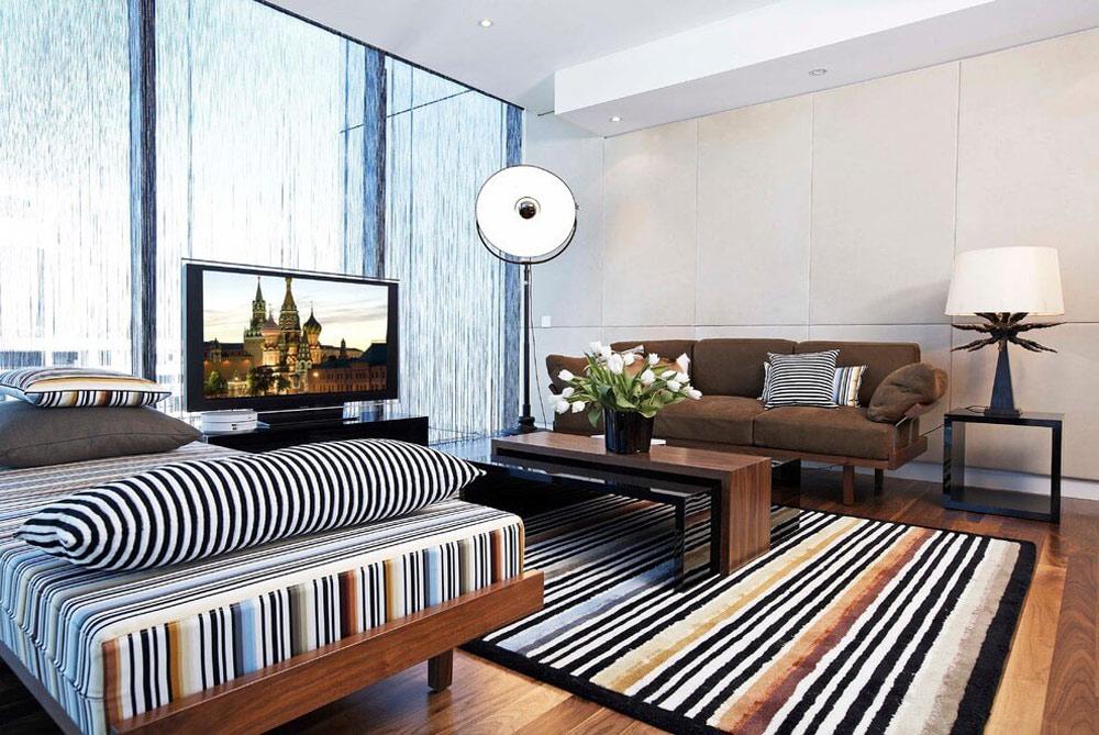 Bright rug, bedroom sofa
