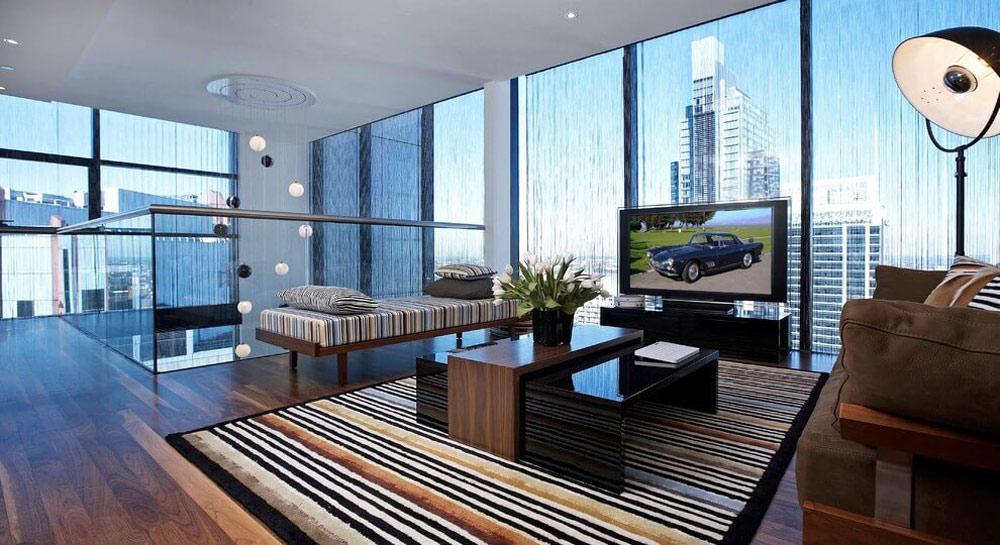 Glass balustrading, living space