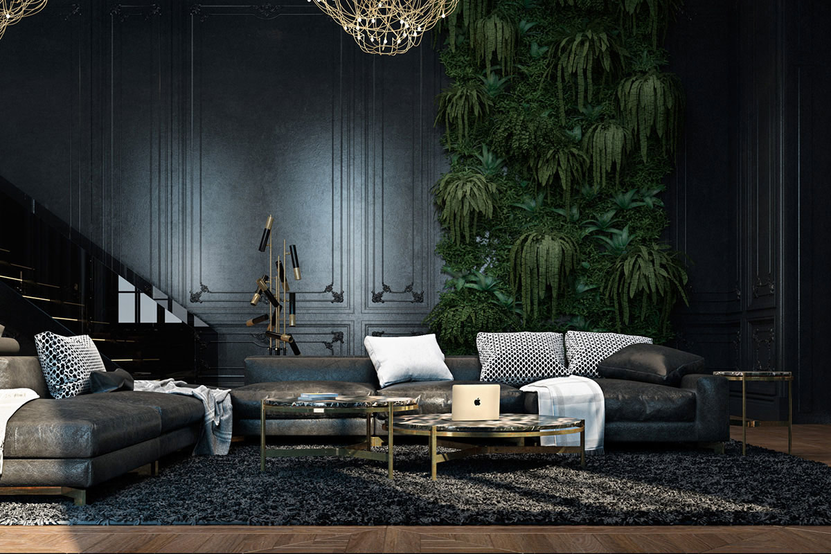 L-shaped sofa, dark rug