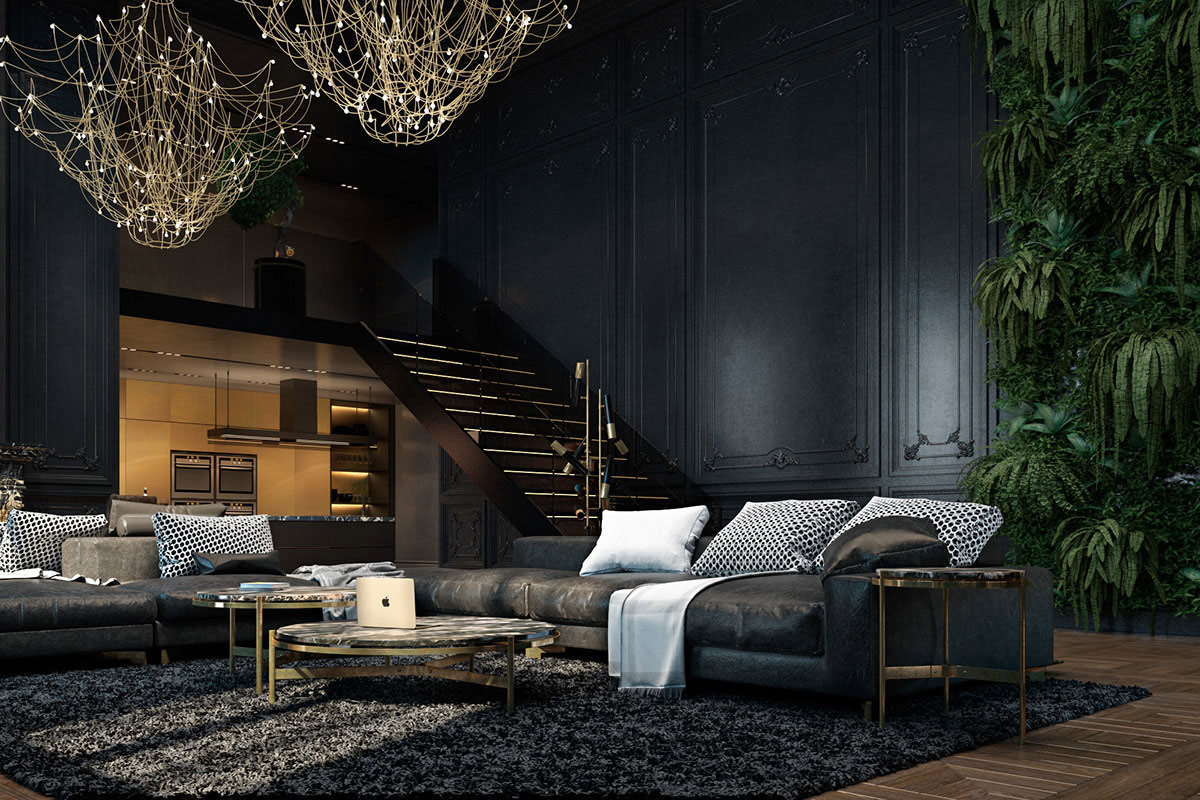 Large dark sofa, dark living room