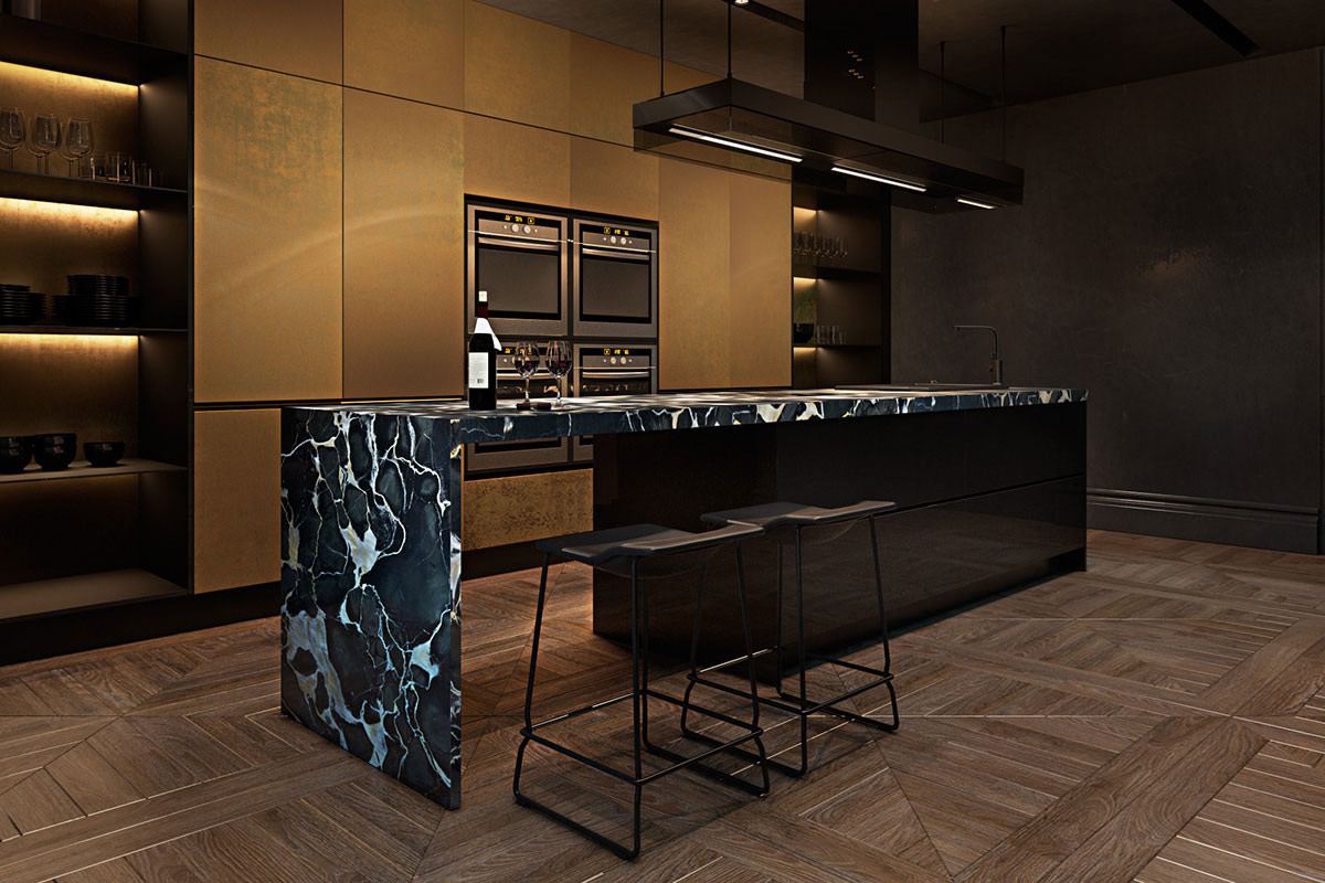 Marble kitchen island, breakfast bar