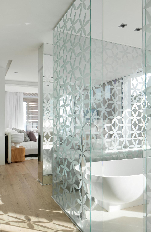 Bathroom with glass walls