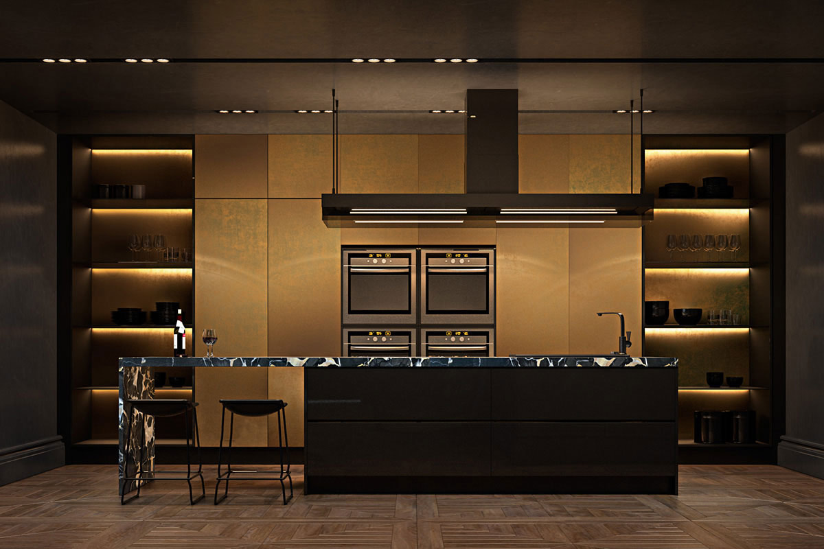 Dark gold kitchen, marble island