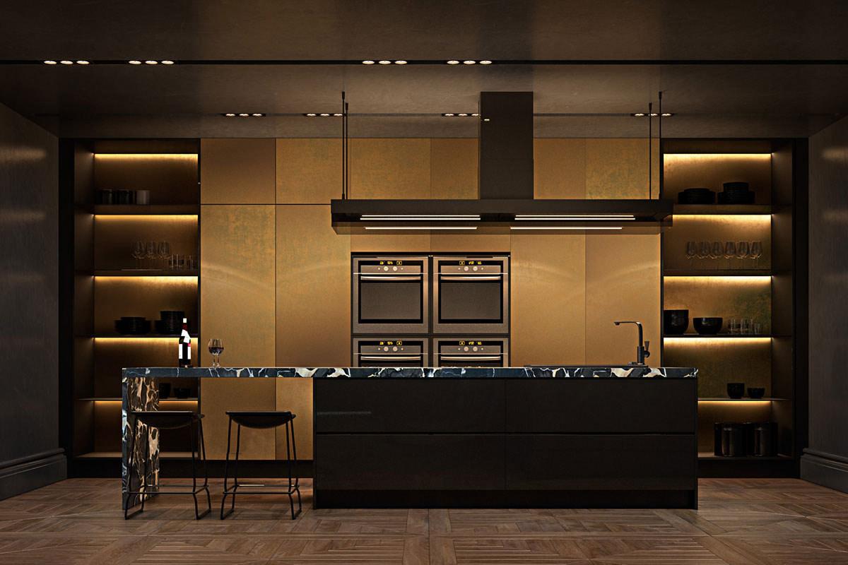 Dark gold kitchen, marble island