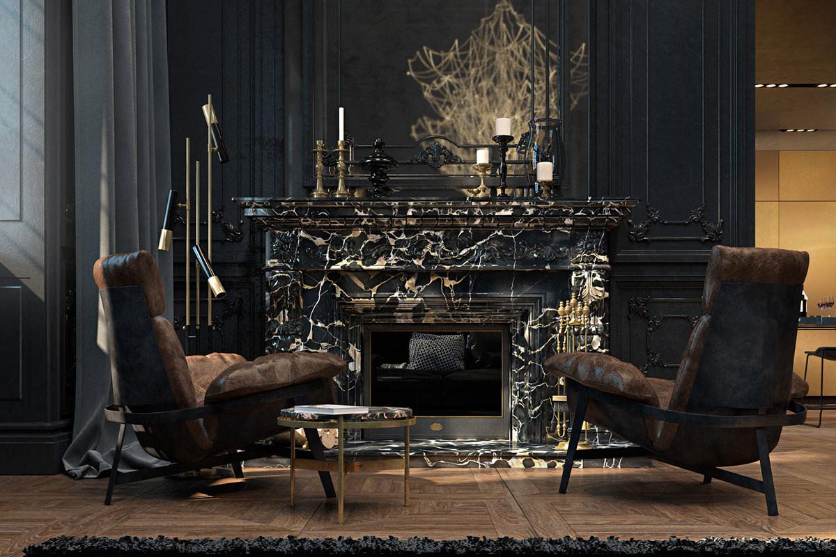 Dark marble fireplace