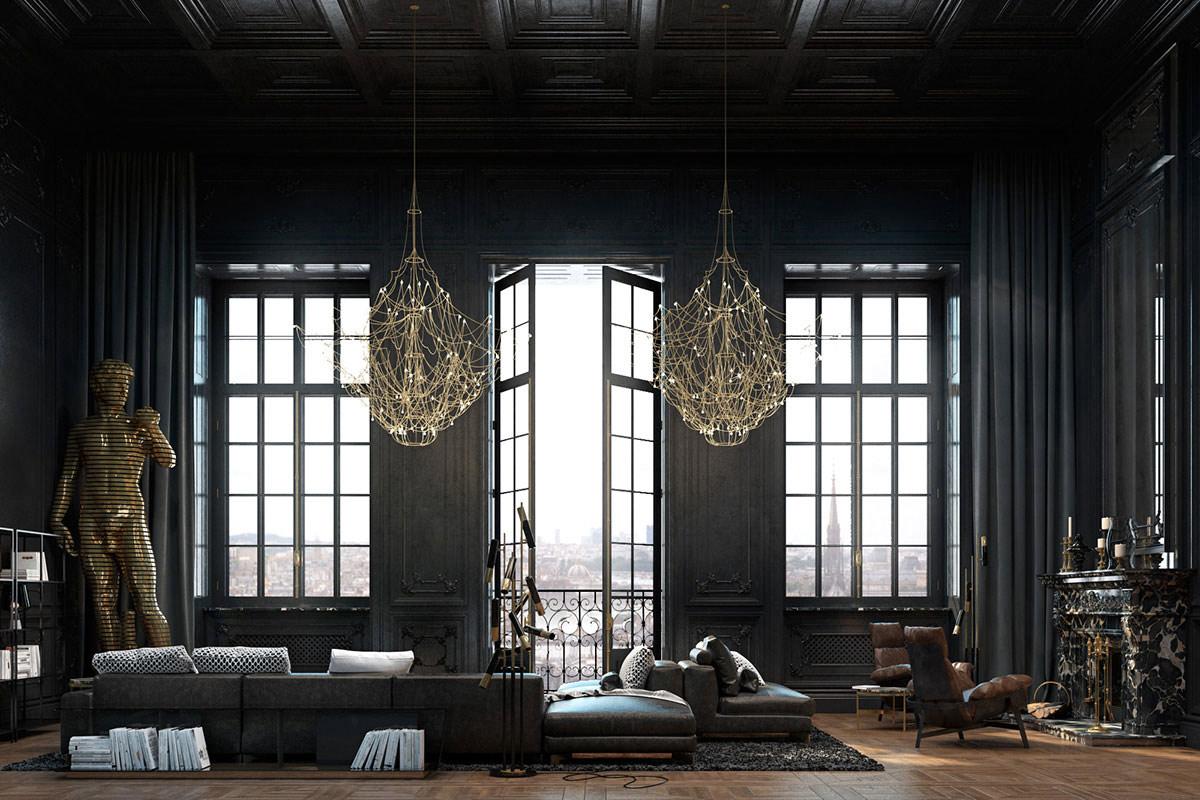 Elegant gold chandeliers